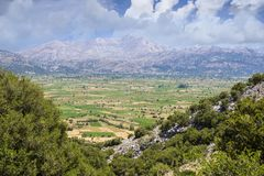 Lasithi plateau on the island of Crete in Greece. Royalty Free Stock Images