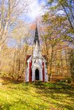 Laska教堂-小温泉镇在西部波希米亚- Marianske Lazne Marienbad -捷克 免版税库存照片
