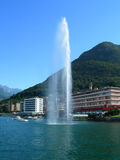 Laskeside promenada in the city of Lugano. Laskeside promenada view of the city of Lugano in Switzerland stock image
