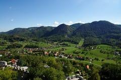 Lasko dolina w Slovenia widzieć od Celje kasztelu Obraz Stock