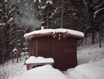lasowa budy sauna zima Zdjęcia Stock
