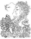 Lasowa czarodziejka z wiankiem na kierowniczym przytulenia łabędź w kwiacie dla antego Zdjęcie Stock