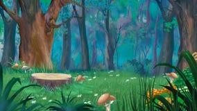 Lasowa halizna z Dużym fiszorkiem i pieczarki w letnim dniu Obraz Stock