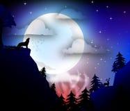 Lasowa nocy scena ilustracji