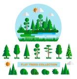Lasowi elementy ustawiający z drzewo krzaków roślinami notują i fiszorek odizolowywająca wektorowa ilustracja Fotografia Stock