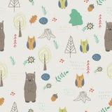 Lasowi zwierzęta bezszwowy wzoru ilustracji