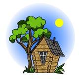Lasowy czarodziejka dom z drzewem, Zdjęcia Royalty Free