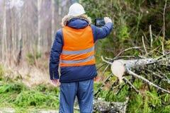 Lasowy inspektorski używa pastylka pecet blisko drzewa w lesie Zdjęcia Royalty Free