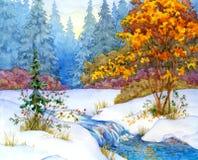 lasowy jeziorny pokojowy sceny zima drewno ilustracja wektor