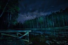 Lasowy jezioro i gwiaździsty niebo przy nocą Obrazy Royalty Free