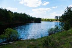 Lasowy jezioro w wiośnie Obrazy Stock