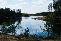 Lasowy jezioro w wiośnie Fotografia Royalty Free