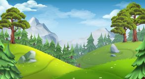 Lasowy natura krajobraz Wektorowy t?o royalty ilustracja