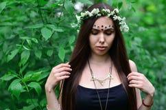Lasowy obrazek piękna młoda brunetka Europejski pojawienie z ciemnego brązu oczami i wielkimi wargami fotografia royalty free