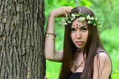 Lasowy obrazek piękna młoda brunetka Europejski pojawienie z ciemnego brązu oczami i wielkimi wargami obrazy royalty free