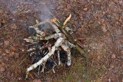 Lasowy ognisko widok od above Łupki tło Turystyka wakacje Zdjęcia Stock