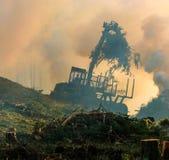 Lasowy rozcięcie, palić lasu odpady Dym i ogień, ciągnik n Zdjęcie Royalty Free
