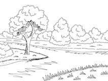 Lasowy rzeczny graficzny czarny bielu krajobrazu nakreślenia ilustraci wektor Obrazy Stock
