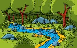 lasowy strumień ilustracja wektor