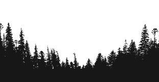 Lasowy sylwetki tło ilustracja wektor