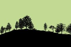 Lasowych drzew sylwetek tło royalty ilustracja