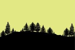 Lasowych drzew sylwetek tło ilustracji