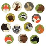 Lasowych żyć dzikich zwierząt Geometryczna stylowa ikona round Fotografia Stock