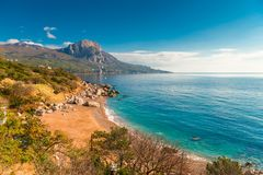Laspi bay, Crimea seascape. In autumn royalty free stock photography