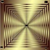 Lassen der Goldquadrate mit Goldnieten Stockbild