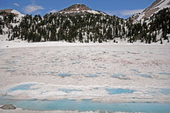 Lassen frozen lake Royalty Free Stock Image