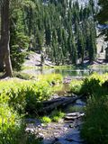 Lassen Park Lake. Water outlet of Cliff Lake in Lassen Volcanic National Park Royalty Free Stock Image
