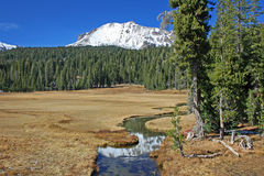 Lassen Peak and his reflection in Kings Creek Royalty Free Stock Image