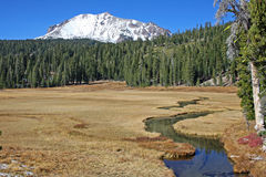 Lassen Peak and Kings Creek Royalty Free Stock Images