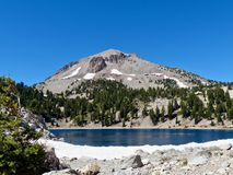 Lassen Peak, Lake Helen. Lassen Peak and Lake Helen, Lassen Volcanic National Park Stock Photo