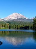 Lassen Peak, Manzanita Lake. Lassen Peak reflects in the waters of Manzanita Lake in Lassen Volcanic National Park Stock Image