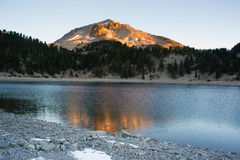 Lassen Peak National Volcanic Park Lake Helen Sunset Royalty Free Stock Photography