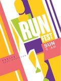 Lassen Sie buntes Plakat des Fest, besten Marathon, Schablone für Sportereignis, Meisterschaft, Turnier laufen, kann für Karte ve stock abbildung