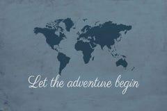 Lassen Sie das Abenteuer Illustration anfangen Stockfotos