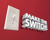 Lassen Sie das Schalter-Lichtpaneel Änderung ummauern ergreifen Maßnahmen Stockfoto