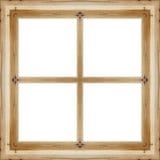 Lassen Sie den alten hölzernen Rahmen in einem weißen Hintergrund Stockfoto