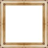 Lassen Sie den alten hölzernen Rahmen in einem weißen Hintergrund mit Raum für Text Stockbilder