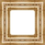 Lassen Sie den alten hölzernen Rahmen in einem weißen Hintergrund mit Raum für Text Stockfotos