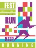 Lassen Sie Fest laufen, halten Sie zu laufen, buntes Plakat des besten Marathons, Schablone für Sportereignis, Meisterschaft, Tur vektor abbildung
