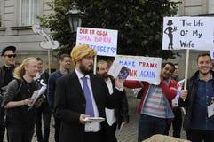 LASSEN SIE FREIVERMERK GETRUNKENEN AGAIN_DANISH-SLOGAN HEIRATEN Stockbild