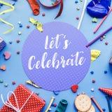 2019 lassen Sie ` s feiern, Parteikonzeptideen mit buntem Element lizenzfreies stockfoto