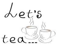 Lassen Sie ` s stilisierte Kaffeetasse Tees Weinlese im Vektor Lizenzfreies Stockbild