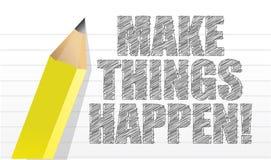Lassen Sie Sachen geschehen auf einem Notizblockhintergrund Stockbilder