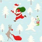 Lassen Sie Santa Claus-Ren und Bären mit Geschenkbox laufen und sacken Sie nahtloses Muster ein lizenzfreie abbildung