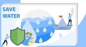 Lassen Sie uns das Wasser des Planeten sparen Leute sammeln Regentropfen und sparen Wasser auf dem Planeten Auch im corel abgehob stock abbildung