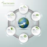 Lassen Sie uns die Erde, Ökologiekonzept infographics, Ökologieikone retten Stockfotografie